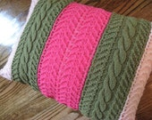 Clearance Sale - Pair Knitted Pillow Covers - Green Magenta Baby Pink - Knitted