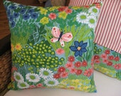 Sale - Happy Pillow Cover - Cheerful Springtime with Butterfly and Flowers - 14 Inch