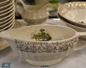 Beautiful American Limoges China - Chateau France - French Countryside - Fluted Edges 22K - Plates Bowls Platter Creamer - Weddings Parties