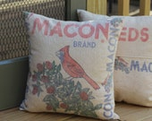 Vintage Feed Sack Pillow - Macon Seeds - Red Bird and Clover - Decatur Illinois