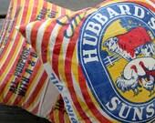 Vintage Feed Sack Pillow - Hubbard's Sunshine - Bright and Colorful - Farm Animals - Farmhouse