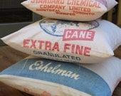Vintage Sugar Sack Pillow  - Farmhouse Style - Red White Blue Feedsack Pillow - Feed Sack