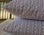 Pair of Vintage Pillow Ticks - Heavy Cotton NOS - Purple Stripe with Flowers - 1940s-1950s