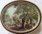 Clearance Sale - Vintage Biscuit Tin - Currier & Ives Lithographs - Limited Edition - Sunshine Bisquits - Large Remote