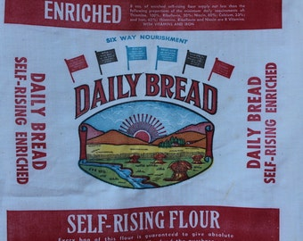 Vintage Flour Sack - Daily Bread - Greensboro NC - Make Your Own Stocking - Pillow