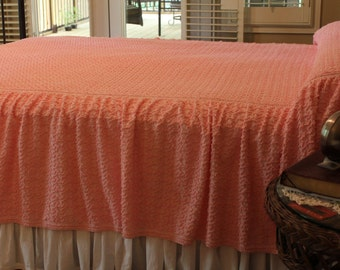 New Vintage Chenille Bedspread - Bright Pink - New Squiggle Chenille with Skirt - Full Queen - Pink Spread