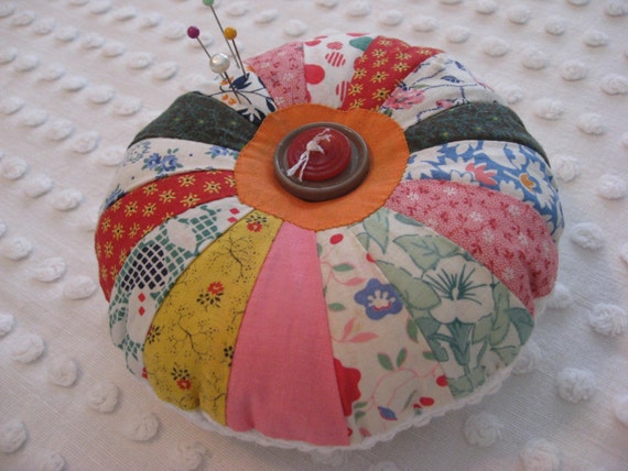 Handcrafted Pincushion or Brooch Cushion - Vintage Feedsacks and Hobnail Chenille - Large - Patchwork