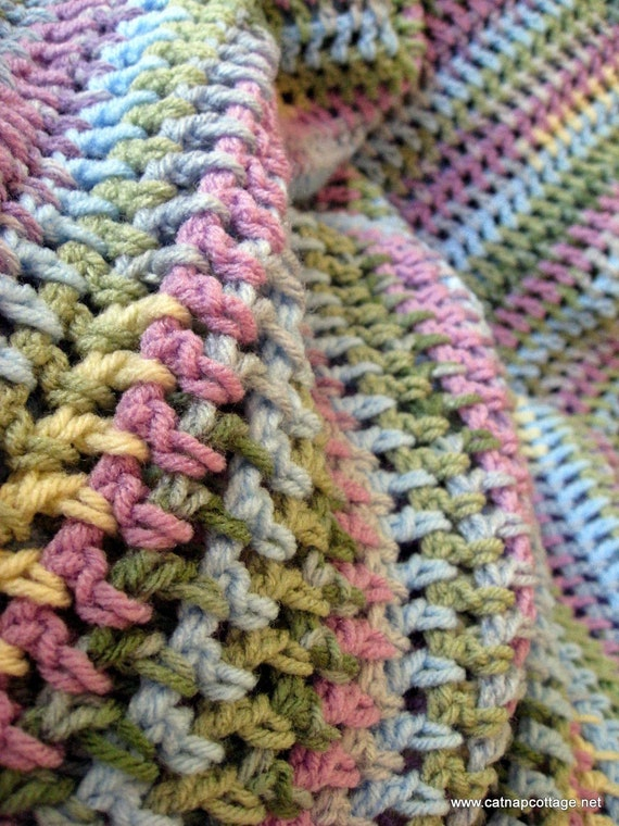 Crocheted Afghan - Pastel Multi Stripe - Vintage Design - Traditional Easter Colors
