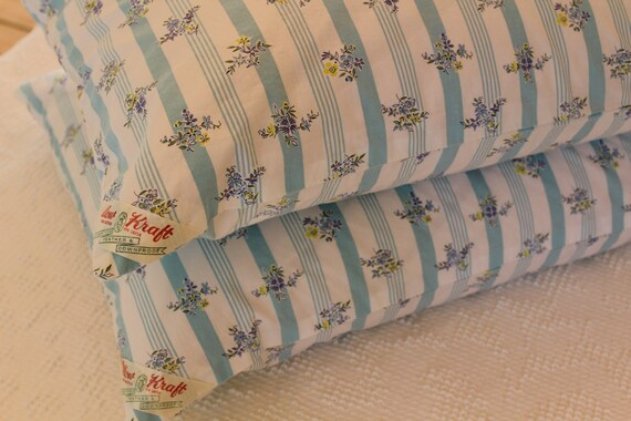 Vintage Pillow Tick - Pillow Cover - Turquoise Stripe with Floral Bouquets