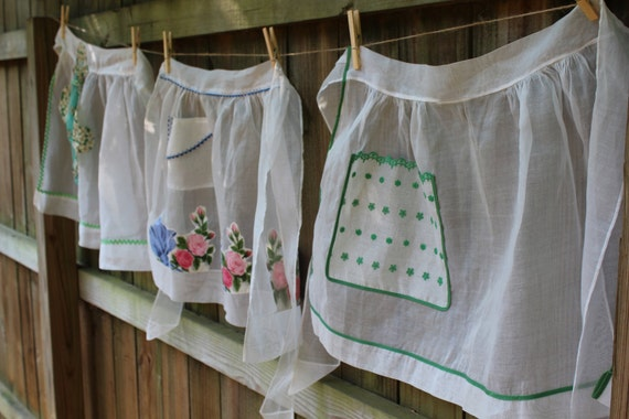 Vintage Half Apron - White Organdy with Green Eyelet Pocket Detail