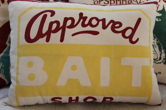 Fishing Pillow - Lake House - Approved Bait Shop - Yellow and Red