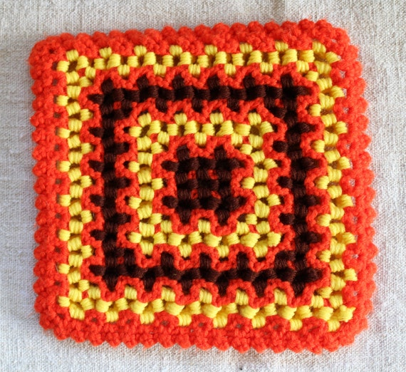 Vintage Table Trivet - Yarn Table Mat - Yellow Orange Brown - 1970s - Ruffles Crochet