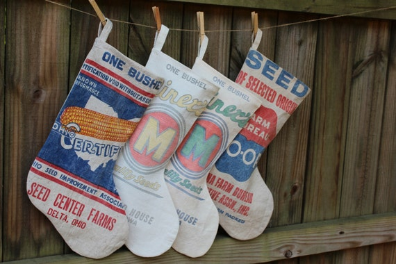 Vintage Seed Sack Christmas Stocking - Holiday Stocking - Yellow M - Ready to Ship Priority Mail