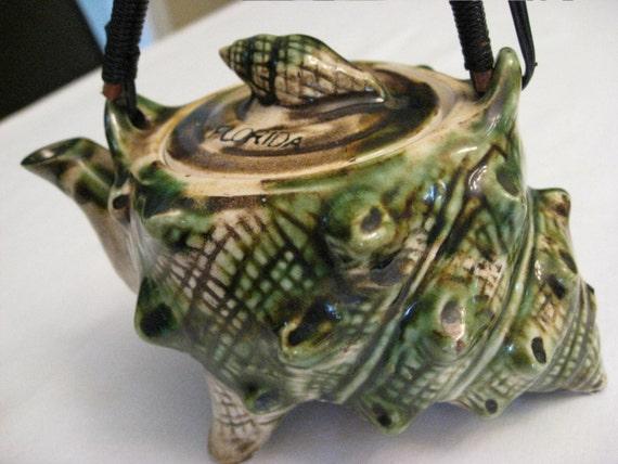 Vintage Tea Set - Ceramic Sea Shells - Conchs - Florida Souvenir