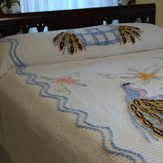 Vintage Chenille Bedspread - Peacocks - 1940s - 1950s - Full or Queen Coverlet