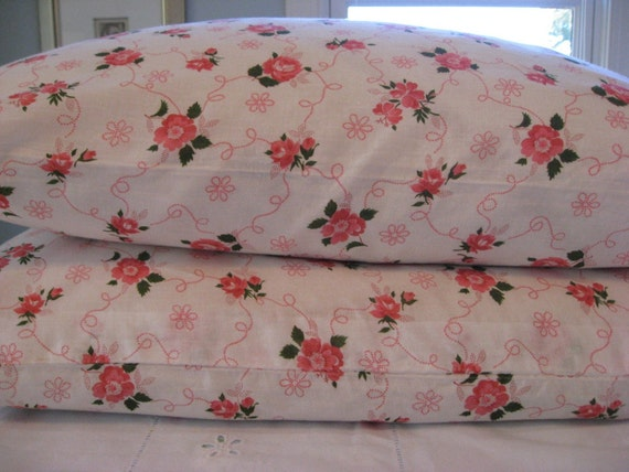 Vintage Pillow Tick - Pillow Cover - Bright Pink Roses on White