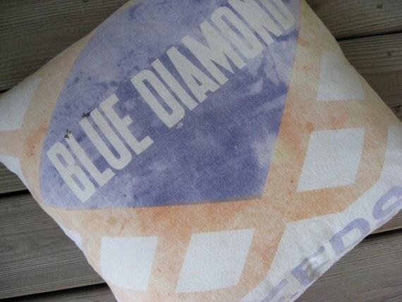 Vintage Feedsack Pillow Cover - Blue Diamond Feeds - Aberdeen South Dakota - Grain Sack Pillow