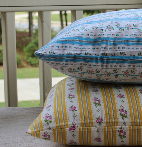 Vintage Pillow Tick - Pillow Cover - Blue Gray Stripes - Pink Flowers
