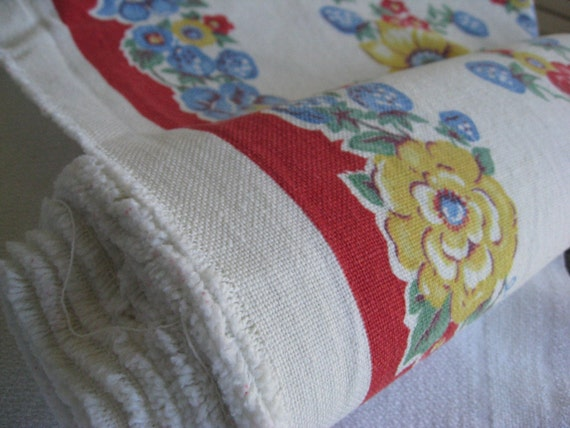 Roll of Vintage Linen Toweling - Red Border with Blue and Yellow Flowers