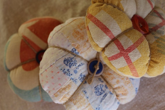 Shabby Quilt Pin Cushion - Large Size - Country with Buttons and Jute - Blue Orange Polka Dots - Ready to Ship