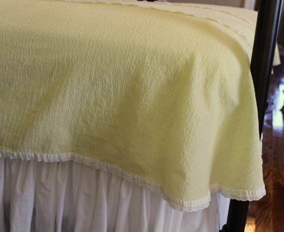 Vintage Cotton Plisse Coverlet Bedspread - Yellow Sorbet - Summer Spread - Cottage Chic - New - Full or Queen Coverlet