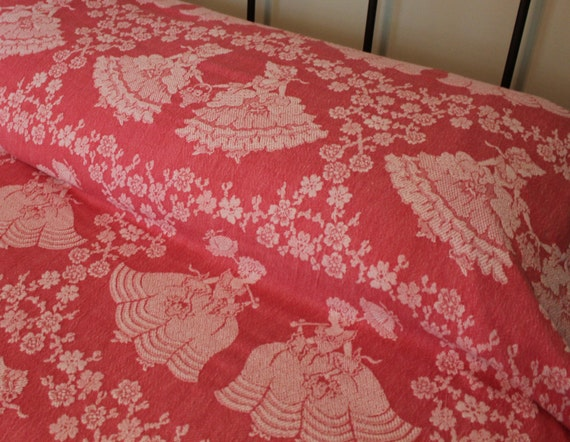 Vintage Blanket or Bedspread - Pink Cotton - Bates - Ladies - Cottage Chic - Salmon Pink - Reversible - Twin - Full - Queen Spread Blanket
