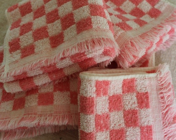 Vintage Terrycloth Towels - Pink Check with Fringe - Bathroom Towel or Kitchen Towel - New Cannon - Pink and White Terry Towels - 1950s