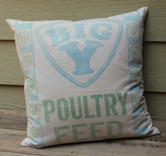 Vintage Feed Sack Pillow - Big Y Poultry Feed - Faded Blue and Green - Feedsack Pillow - Shabby Chic
