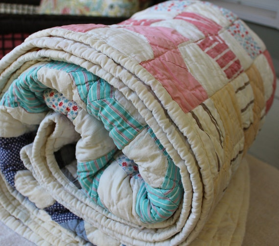 Reserved for Andrea - Vintage Blanket - Cotton Feed Sack Quilt - Country Cotton Blanket - Country Farmhouse - Bow Tie Pattern