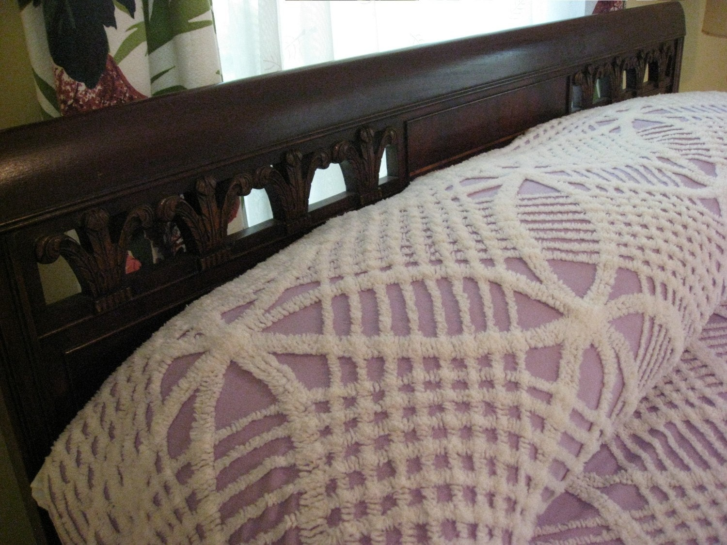 Vintage Chenille Bedspread Lavender Purple And White
