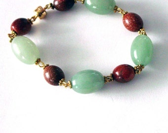 Jade and Goldstone Bracelet w/Magnetic Clasp 249