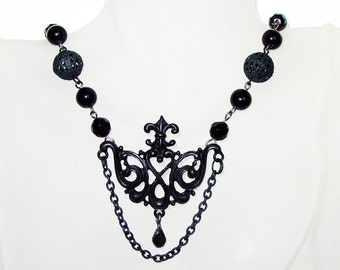 Gothic, Black,Handmade Necklace, Handmade Jewelry, Pendant 54