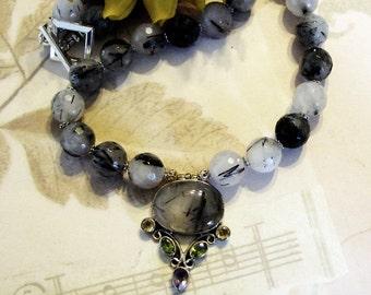 Rutilated Quartz Necklace Sterling Silver Multigem Pendant 17