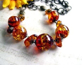 Natural Amber Necklace Handmade Long Adjustable 63