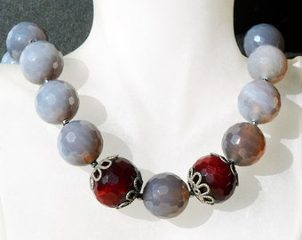 Gray Agate Necklace 75