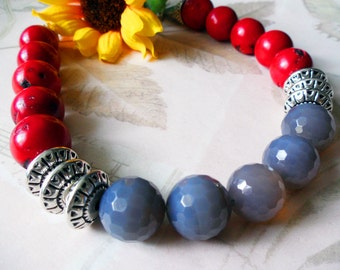 Red Coral and Grey Agate Handmade Necklace, Natural Stone, Costume Jewelry,152