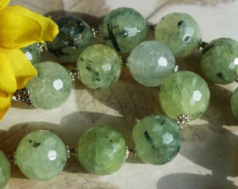Prehnite Necklace Large Green Faceted Round Stones 379