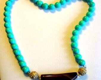 Unique Turquoise Necklace with Removable Agate Pendant and Magnetic Clasps (Two in One) (217)