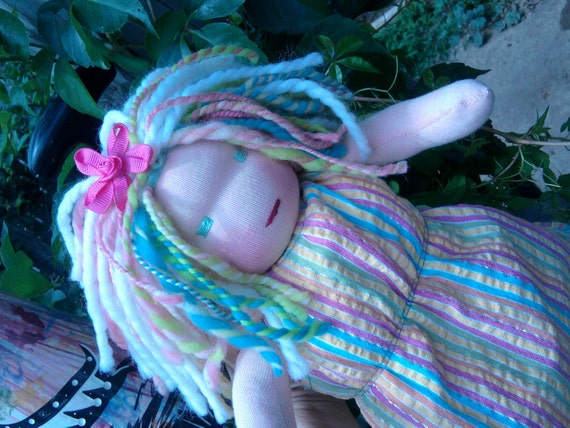 RESERVED for Kali custom waldorf doll pastel rainbow 10 inch