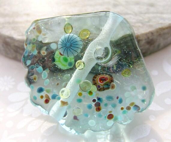 Lampwork Glass Focal Bead Sparkling Summer Sea Shell