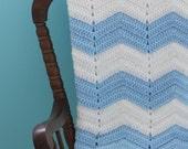 Blue & White Chevron Baby Blanket