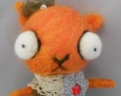 beautiful Orange  kitty Ooak needle felted art doll