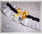 Handmade Wedding Garter Set Pittsburgh Penguins Satin W-BGW