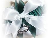 Handmade Wedding Garter with Philadelphia Eagles Inspired charm Keepsake Satin WH