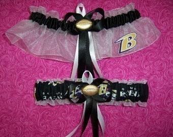 Baltimore Ravens Wedding Garter Set   Handmade  Keepsake and Toss