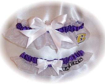 Baltimore Ravens Wedding Garter Set  Handmade  Keepsake and Toss    Bridal Lingerie WPW