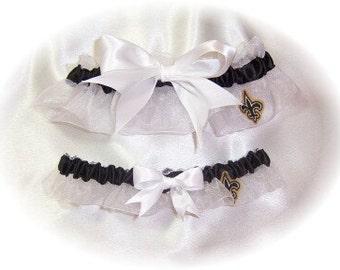 New Orleans Saints Wedding Garter Set   Handmade  Keepsake and Toss  WBW