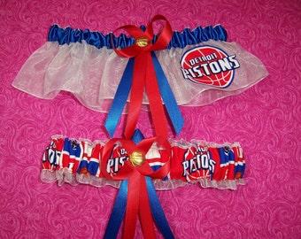 Detroit Pistons Wedding Garter Set   Handmade  Keepsake and Toss