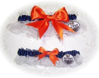 Edmonton Oilers Wedding Garter Set  Handmade   Keepsake and Toss   Bridal  wno