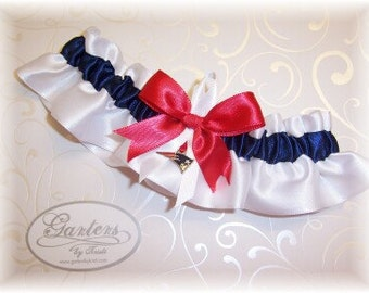 New England Patriots Wedding Garter  with charm Keepsake  Handmade  Satin W-NRW